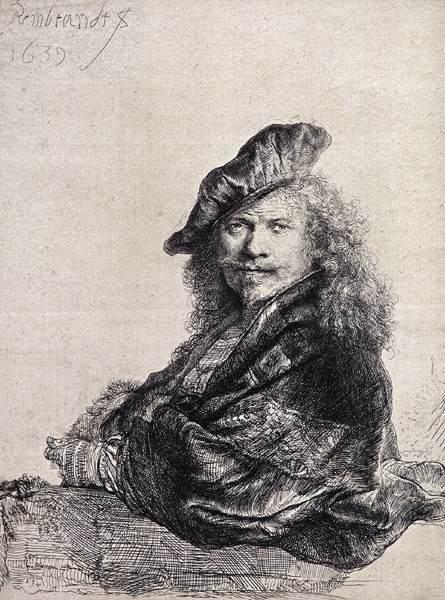 「石の手摺りにもたれる自画像」(1639年)レンブラント・ファン・レイン