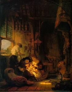 「聖家族」または「指物師の家族」(1640年)レンブラント・ファン・レイン