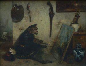 「猿の画家」(1833年)アレクサンドル=ガブリエル・ドゥカン