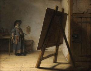 「アトリエの画家」(1628年)レンブラント・ファン・レイン