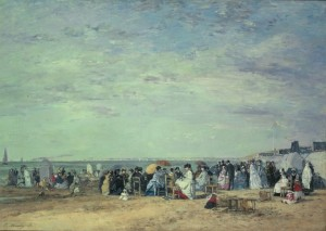 「トルーヴィルの浜」(1867年)クロード・モネ