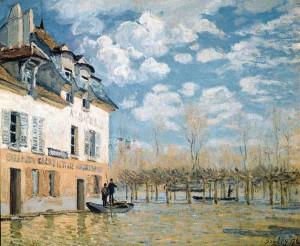 「洪水と小舟」(1876年)アルフレッド・シスレー