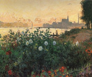 「花咲く堤、アルジャントゥイユ」(1877年)クロード・モネ