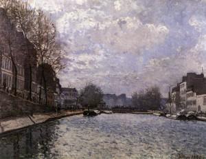「パリのサン・マルタン運河」(1870年)アルフレッド・シスレー