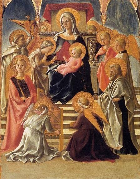 「玉座の聖母と天使、聖人たち」(1430年初頭)フィリッポ・リッピ