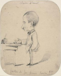 「Caricature of Man Standing by Desk」( 1855-1856年頃)Claude Monet