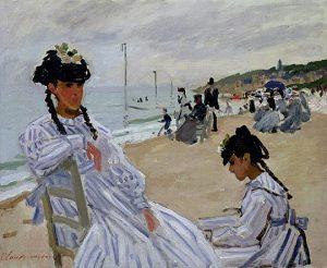 「トゥルーヴィルの海辺にて」(1870年)クロード・モネ