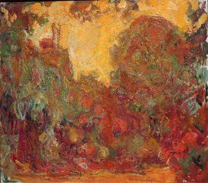 「バラの庭から見た家」(1922‐24年)クロード・モネ