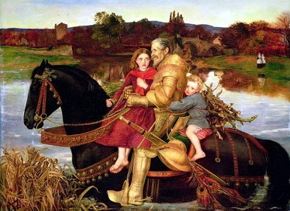 「いにしえの夢 ー 浅瀬を渡るイサンブラス卿」(1856‐57)ジョン・エヴァレット・ミレイ