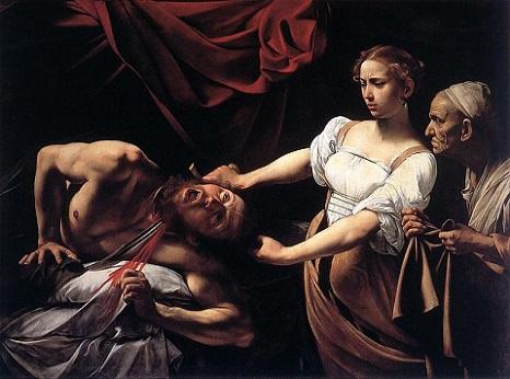 「ホロフェルネスの首を斬るユディト」(1598‐1599年)カラヴァッジョ