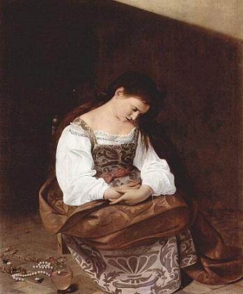 「懺悔するマグダラのマリア」(1594‐1595年頃)カラヴァッジョ