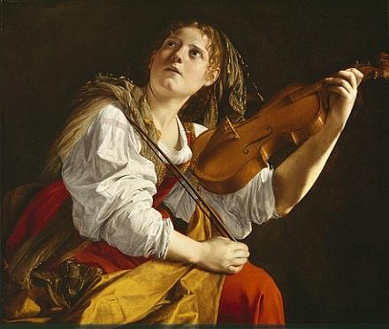 「バイオリンを弾く若い女性」(1621年頃)オラツィオ・ジェンティレスキ