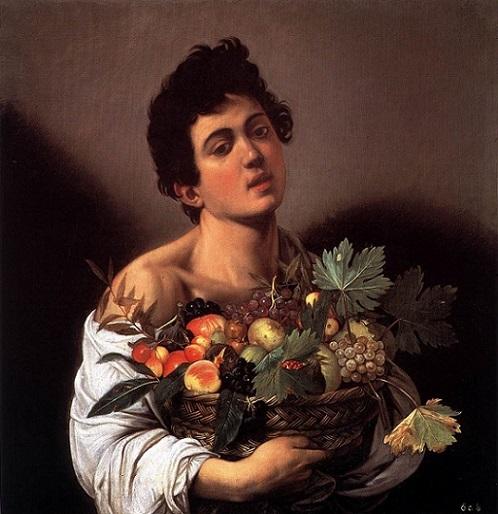 「果物籠を持つ少年」(1593年頃)カラヴァッジョ