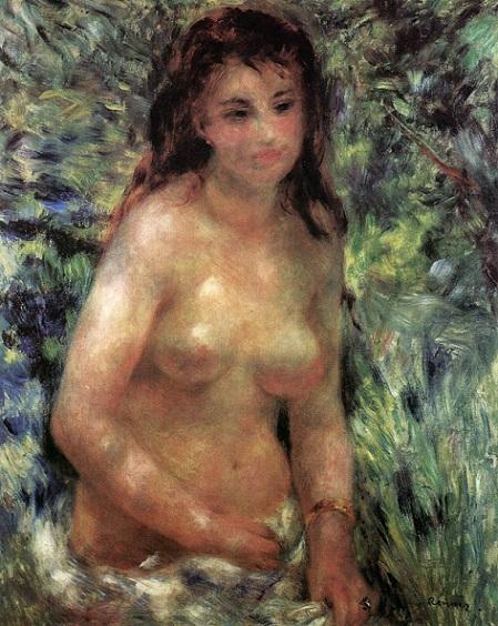 「陽光のなかの裸婦」(1876年)ルノワール作