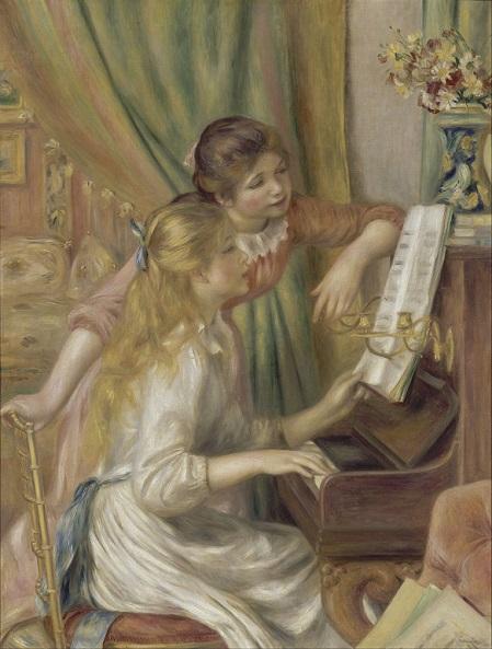 「ピアノを弾く少女たち」(1892年)ルノワール作