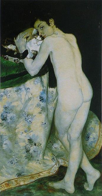 「猫と少年」(1868年)ピエール=オーギュスト・ルノワール