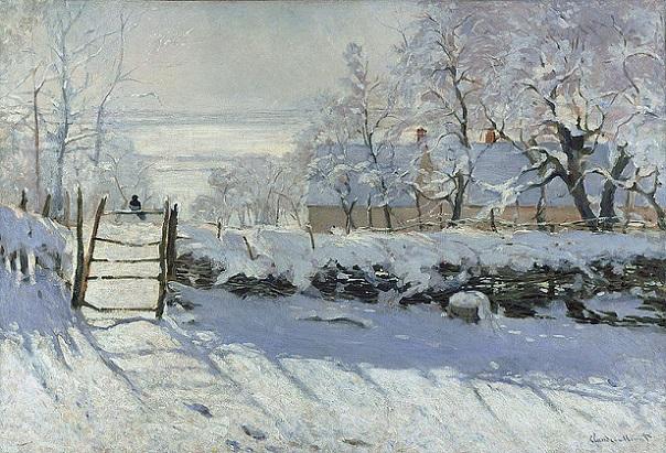 「かささぎ」(1869年)クロード・モネ