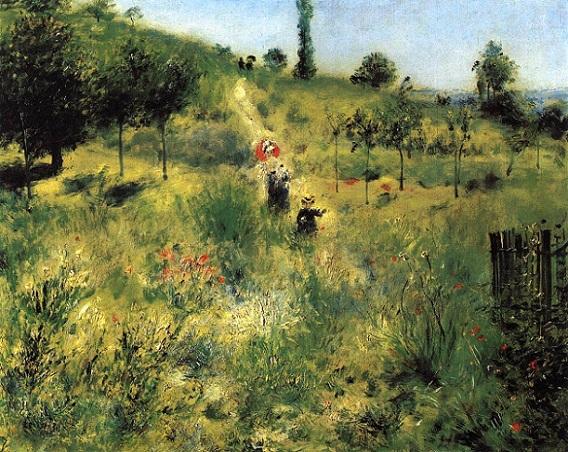 「草原の坂道」(1875年)ピエール=オーギュスト・ルノワール