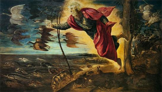 「動物の創造」(1550-53年)ヤコポ・ティントレット