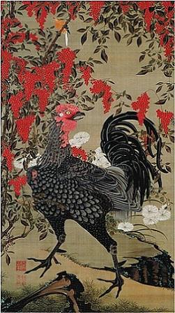 「南天雄鶏図」(1761~65年頃)伊藤若冲