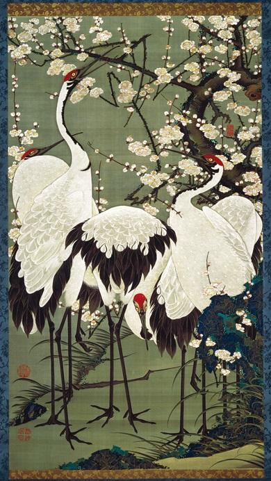 「梅花群鶴図」(1761‐1765年頃)伊藤若冲