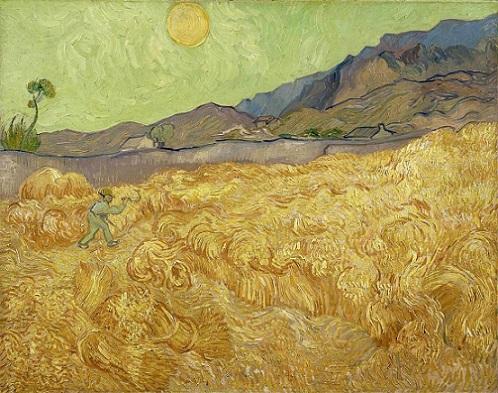 「刈り入れをする人のいる麦畑」(1889年)フィンセント・ファン・ゴッホ