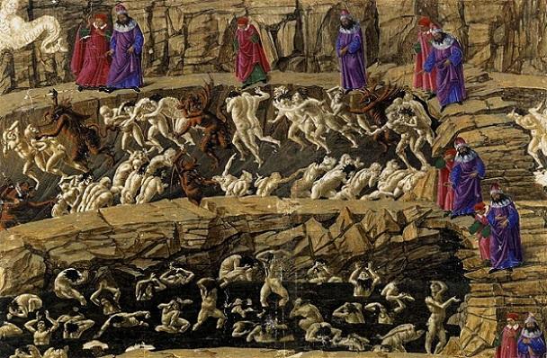 「地獄の見取り図(detail)」(1490年)サンドロ・ボッティチェッリ