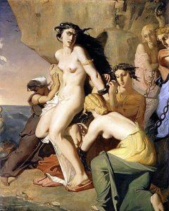 「ネレイスに岩に鎖で縛られるアンドロメダ」(1840年) テオドール・シャセリオー