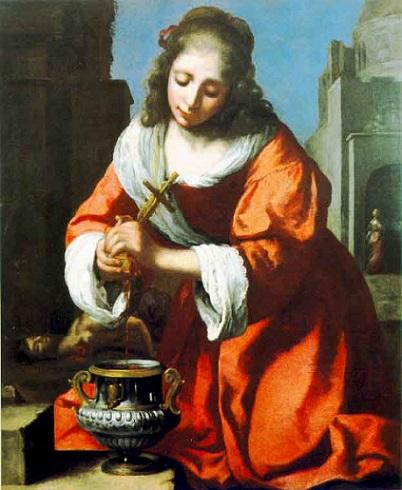 「聖プラクセディス」(1665年頃)ヨハネス・フェルメール