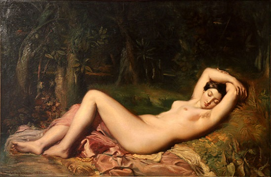「泉のほとりで眠るニンフ」(1850年)テオドール・シャセリオー