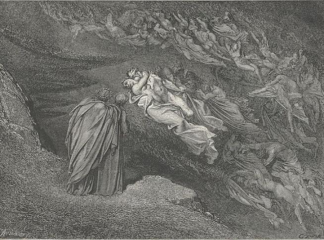 「ダンテ『神曲』地獄篇、第5歌105行」ギュスターヴ・ドレ