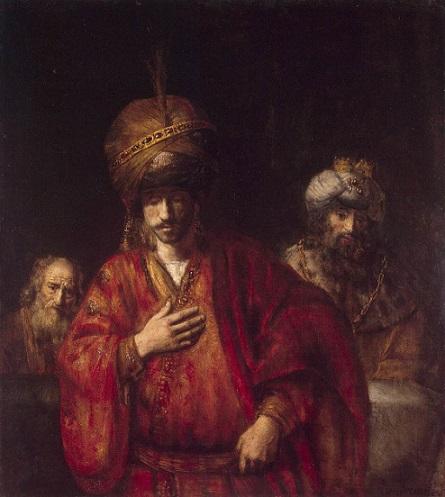 「運命を悟るハマン」(1660年)レンブラント