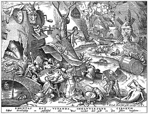 「大食(連作「七つの大罪」より)」(1530年頃)ピーテル・ブリューゲル1世