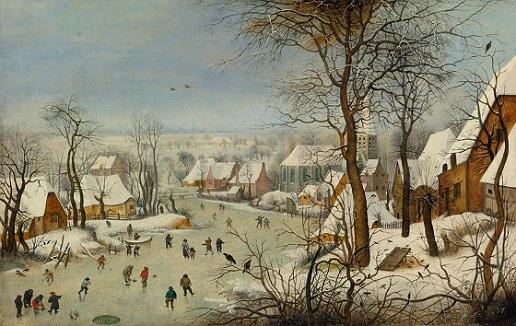 「鳥罠」(1601年)ピーテル・ブリューゲル2世