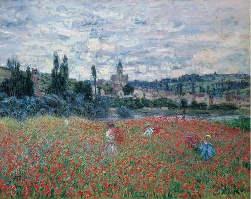 「ヴェトゥイユ近郊のヒナゲシ畑」(1879年頃)クロード・モネ