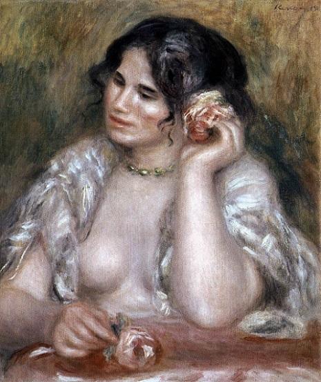 「バラを持つガブリエル」(1911年)ピエール=オーギュスト・ルノワール