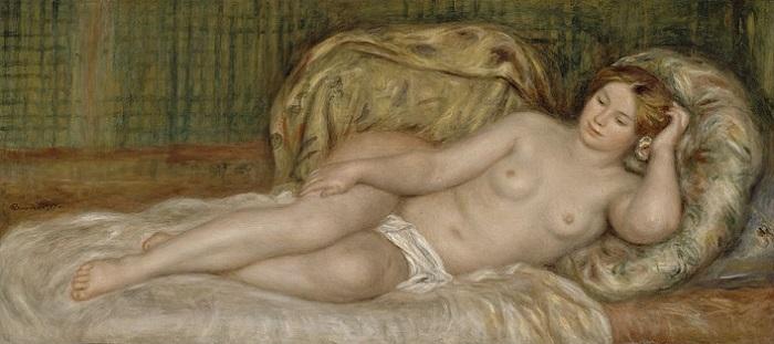 「大きな裸婦(クッションにもたれる裸婦)」(1907年)ピエール=オーギュスト・ルノワール