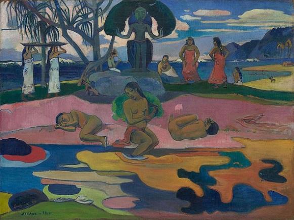 「マハナ・ノ・アトゥア(神の日)」(1894年)ポール・ゴーギャン