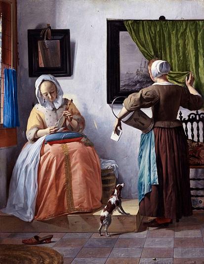 「手紙を読む女」(1664-1666年)ハブリエル・メツー