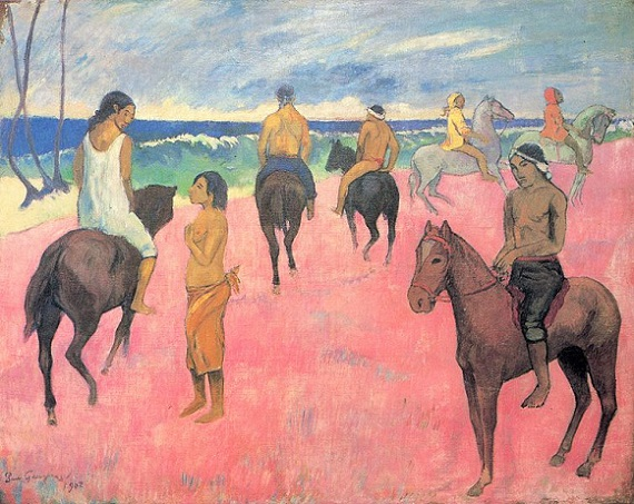 「海辺の騎手たち」(1902年)ポール・ゴーギャン