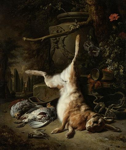 「野ウサギと狩りの獲物」(1697年)ヤン・ウェーニクス