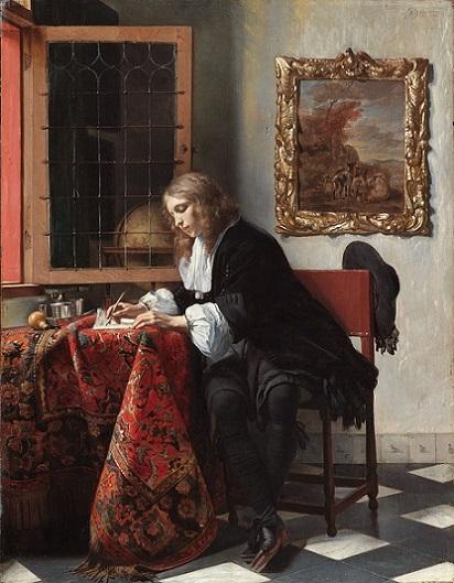 「手紙を書く男」(1664-1666年)ハブリエル・メツー