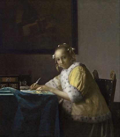 「手紙を書く女」(1665年)ヨハネス・フェルメール