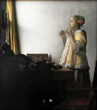 「真珠の首飾りの女」(1662-1665年)ヨハネス・フェルメール
