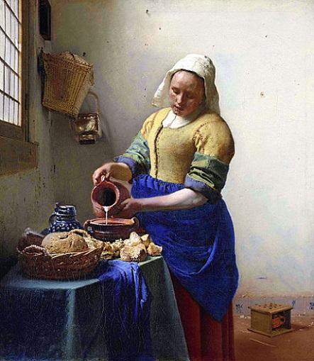 「牛乳を注ぐ女」(1658-1660年)ヨハネス・フェルメール