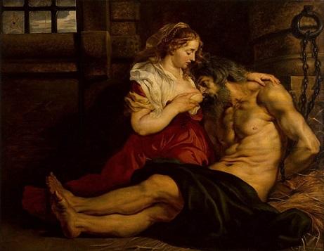 「ローマの慈悲(キモンとペロ)」(1610-12年)ルーベンス