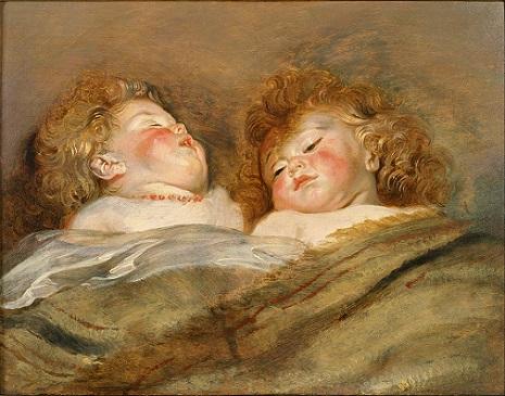 「眠るふたりの子供」(1612-13年)ルーベンス
