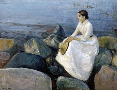 「夏の夜、渚のインゲル」(1889年)エドヴァルド・ムンク