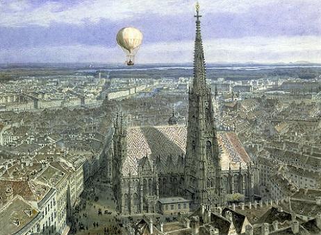 「ウィーン上空に浮かぶ熱気球」ヤーコプ・アルト