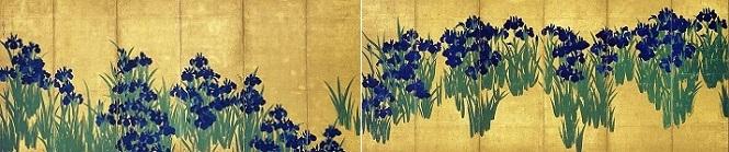 「燕子花図屏風」(江戸時代、18世紀)尾形光琳筆